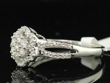 Ladies 10K White Gold Diamond Flower Engagement Ring Wedding Band 0.32 Ct.