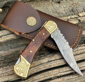 Handmade Damascus Steel Folding Pocket Back Lock Knife Wood Handle With Sheath
