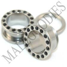"0579 Surgical Steel Screw-on/fit Black CZ Flesh Tunnels 9/16"" Ear Plugs 14mm"
