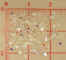 4 gross vintage machine cut glass faceted bicone beads crystal AB 5mm Czech