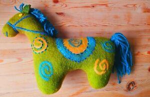 """Handmade 100% Merino Wool Green Toy Horse 13""""X 9"""""""