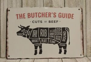 Butcher's Guide to Cuts of Beef Tin Poster Sign Restaurant Steak House Barbeque