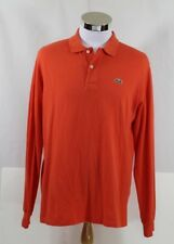 Men's Lacoste Long Sleeve Orange Polo/Rugby Shirt Size 5 (M)