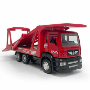 1:50 Trailer Flatbed Truck Carrier Model Car Diecast Gift Toy Vehicle Kids Red