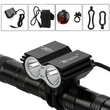 SolarStorm 6000Lm 2x CREE XML T6 LED Cycling Head Bicycle Bike Light+Laser Light