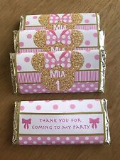 Gold Minnie Mouse Personalised Chocolate Wrappers~ Pink & Gold ~ Minnie Birthday