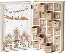 BRUBAKER Advent Calendar Wooden Christmas Book with 24 drawers - White