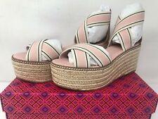 Tory Burch 50 mm Frieda Blush Stripe / Tan Platform Espadrille Sandals NIB 6.5