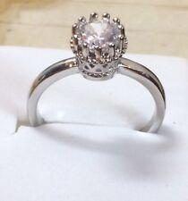 925 Argento Sterling VINTAGE ART DECO BIANCO 1.5 carati anello di zaffiro L AD82