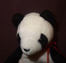 "Panda Bear Fortune  1998 Ty Beanie Babies Plush Stuffed Animal 6"" Blue"