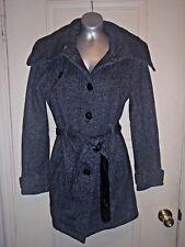 Juniors BCX Trench Dress Coat Jacket Black Salt & Pepper with Belt ~ Size Medium