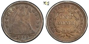 1853 Seated Libert Dime with Arrows XF Detail