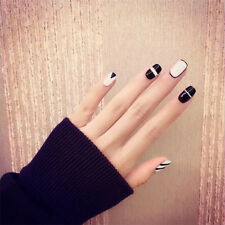 24pcs Black White Short Fake Nails Art Tips Acrylic Nail False Artificial Nail