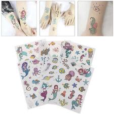 2Sheets Cartoon Kids Tattoo Stickers Mermaid Temporary Tattoo Party SuppliesLDUK