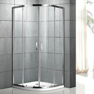 Corner Shower Screen Enclosure Curved Sliding Door Adjustable Tempered Glass
