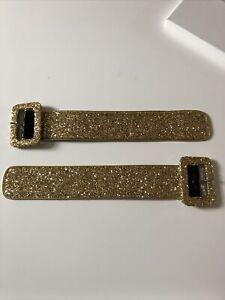 Attico Gold Glitter Ankle  Leather Cuffs New In Box