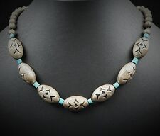 """Vintage Sterling Silver Navajo Pearl Melon Bead Turquoise Necklace 17"""" NS845"""
