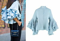 Womens 5 Layers Ruffle Flare Bell Long Sleeve Top Shirt Blouse Crop Mint Linen