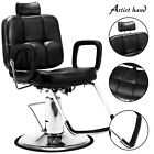 Heavy Duty Hydraulic Recline Barber Chair Black Tattoo Chair Salon Equipment