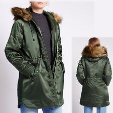 M&S Fur Trim HOODED Warm PADDED PARKA Coat ~ Size 8 ~ GREEN SATIN