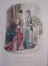 GRAVURE EN COULEUR MODE ILLUSTREE 1878 N° 27 TOILETTES MADAME BREANT-CASTEL