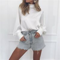 Women Long Sleeve Turtleneck Blouse Office Chiffon T-shirt Solid Lady Loose Tops