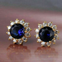 2 Ct Round Cut Blue Sapphire Diamond Cluster Stud Earrings 14K Yellow Gold Over