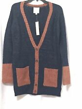 Women s 5 Buttons Open Front Cardigan Sweater Navy Luggage NWT Size M a967a0954