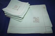 Service de table nappe 145 x 230 cm  + 12 serviettes en coton vert Monogramme