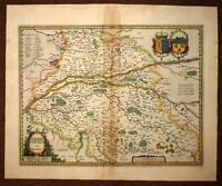 Card Geographic Antique Region of the Touraine per Hondius 1620 Old Antic Map