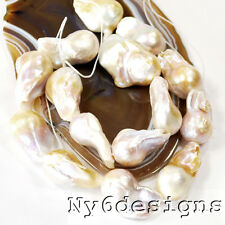 "15-20mm Baroque White Keshi Reborn Freshwater Cultured Pearl Beads 15"" (PE142)d"