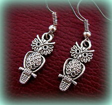 OWL BIRD Earrings Jewelry ANTIQUE Art Deco Indian style Steampunk Retro look