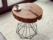 HANDMADE Wooden LIVE edge Coffee table SOLID Oak and diamond shape steel leg