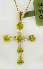 YELLOW TOPAZ 0.67 Cts GEMSTONES CROSS PENDANT 14K GOLD  * New With Tag