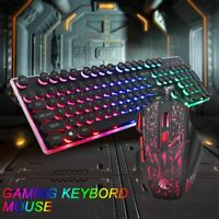 Gaming Keyboard and Mouse Set Rainbow LED USB Illuminated for PC Laptop PS4 Xbox