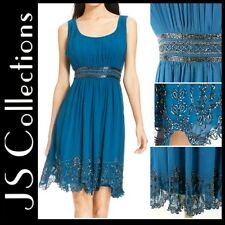 $229 JS COLLECTIONS Blue Beaded Scallop Hem Chiffon Party Cocktail Dress 6 M3020