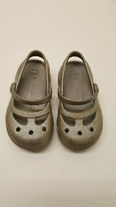 Crocs Baby Girls Silver Glitter  Size 7