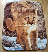 Mountain Lion Plush Throw Blanket Cougar Pat Pauley 65x50 Brown White Soft