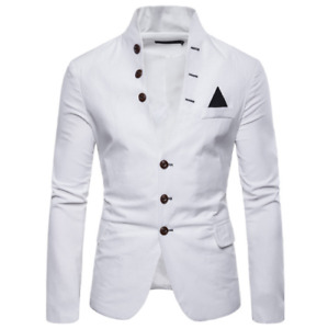 Mens Casual Stand Collar Blazer Single Breasted Button Up Soild Color Slim Fit