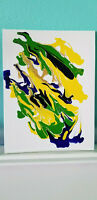 Original Abstract Painting Acrylic on Canvas Panel Signed  Yellow Green Art