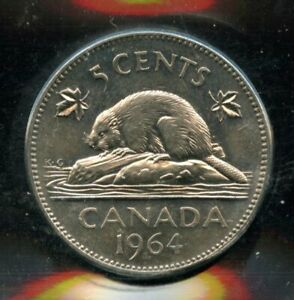 1964 Extra Waterlines Canada 5 Cents Nickel Coin - ICCS MS-62 Cert#EN862