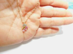 Signed Krementz Pink Clear Rhinestone Gold Tone Pendant Necklace Vintage
