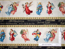 Christmas Angels Song Religious Stripe Cotton Fabric Wilmington 1.2 Yards