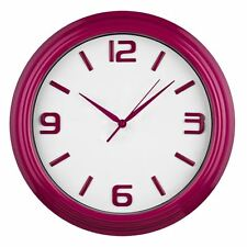 Wall Clock Raspberry Frame Matching Numbers & Hands With White Face Plastic