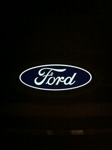 """Light Up Ford Emblems 7"""" Blue And Silver"""