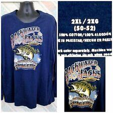 Backwater Jacks Largemouth Lager 2XL(50-52) Cotton Dk Blue L/S T-shirt   I6