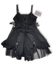 NWT ADJUSTABLE Dark Star GOTHIC Corset Dress LG Black Metal Punk Laceup Tulle