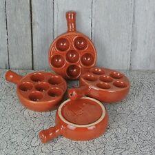 Emile Henry France 4 Orange Brow Escargot Mushroom French Baking Dishes w Handle