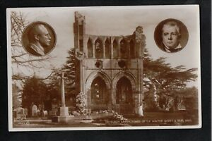 Dryburgh Abbey Tombs of Sir Walter Scott & Earl Haig 1950's ? RP Postcard SUPERB