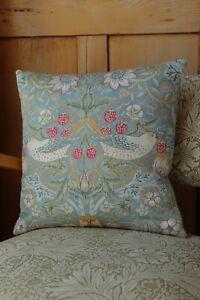 William Morris Cushion Cover Strawberry Thief Slate Blue